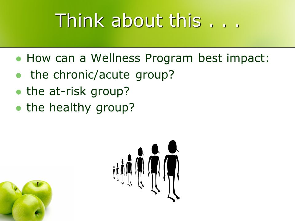 Think about this... How can a Wellness Program best impact: the chronic/acute group.