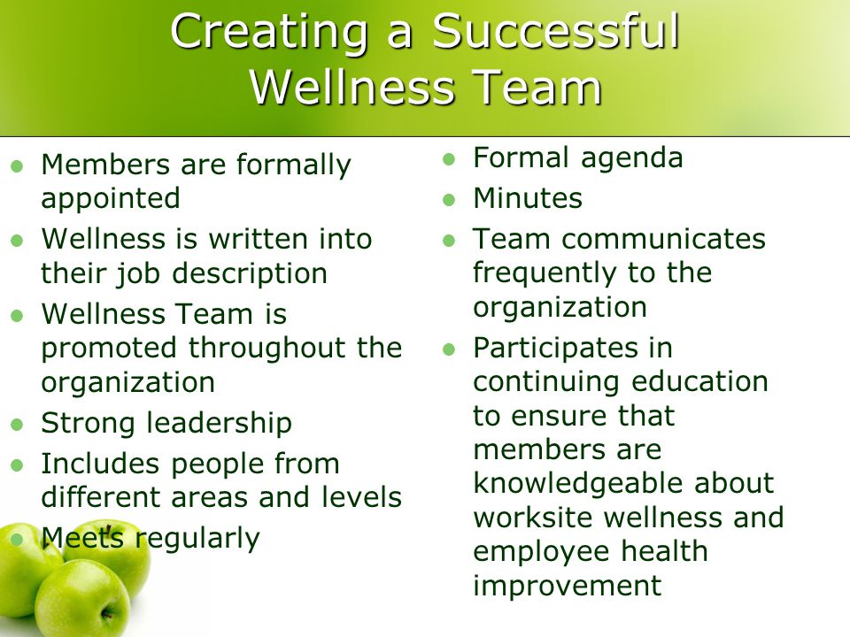 Creating a Successful Wellness Team Members are formally appointed Wellness is written into their job description Wellness Team is promoted throughout the organization Strong leadership Includes people from different areas and levels Meets regularly Formal agenda Minutes Team communicates frequently to the organization Participates in continuing education to ensure that members are knowledgeable about worksite wellness and employee health improvement