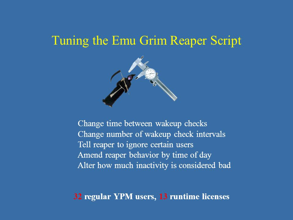 Tuning the Emu Grim Reaper Script Change time between wakeup checks Change number of wakeup check intervals Tell reaper to ignore certain users Amend reaper behavior by time of day Alter how much inactivity is considered bad 32 regular YPM users, 13 runtime licenses