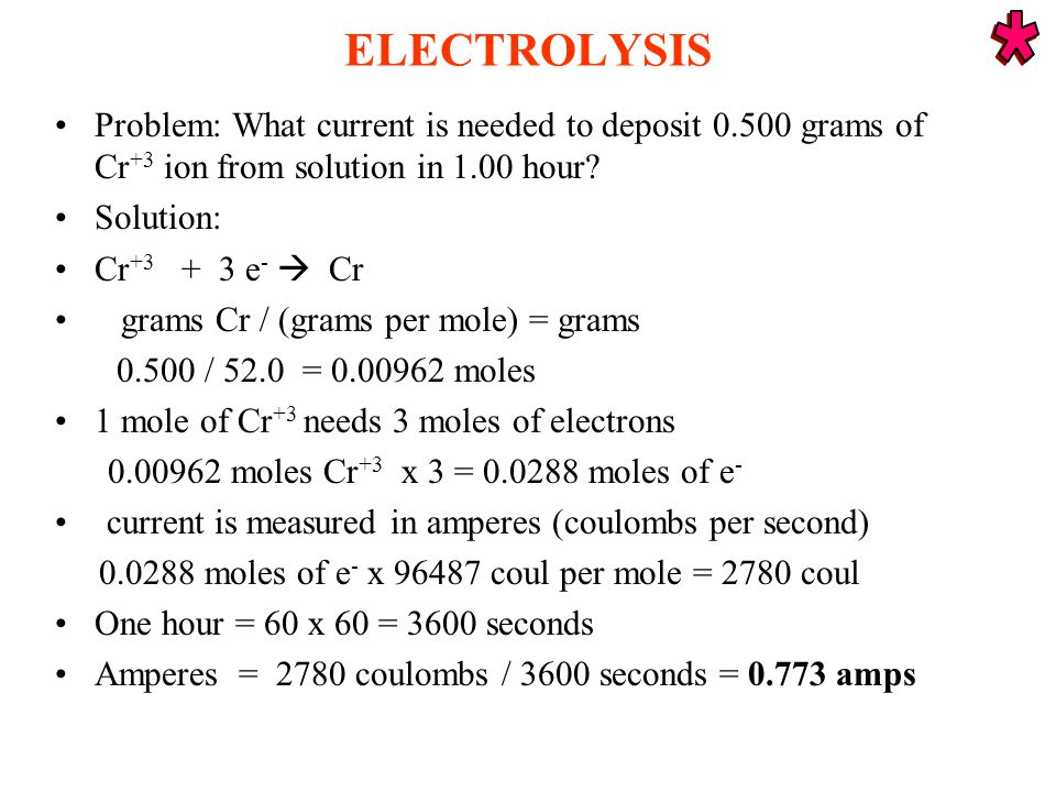ELECTROLYSIS Problem: What current is needed to deposit 0.500 grams of Cr +3 ion from solution in 1.00 hour.