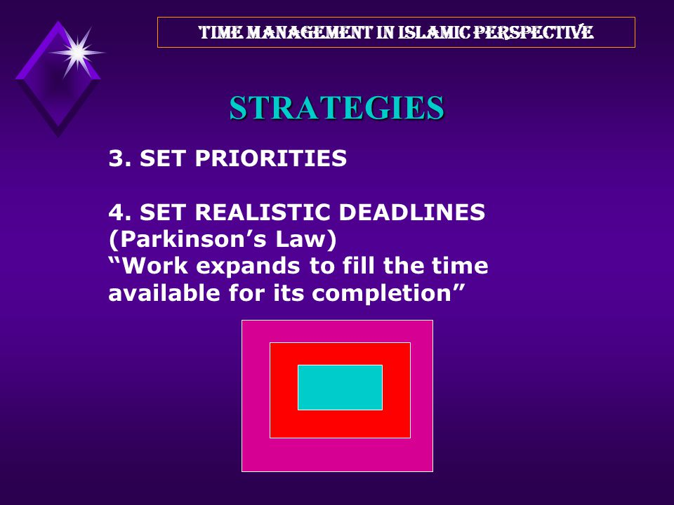 TIME MANAGEMENT IN ISLAMIC PERSPECTIVE ONE HOUR SPARE HOUR PER DAY = 5 HOURS PER WEEK = 250 HOURS PER YEAR = 6 WORK- WEEKS A PROJECT CAN BE ACCOMPLISH