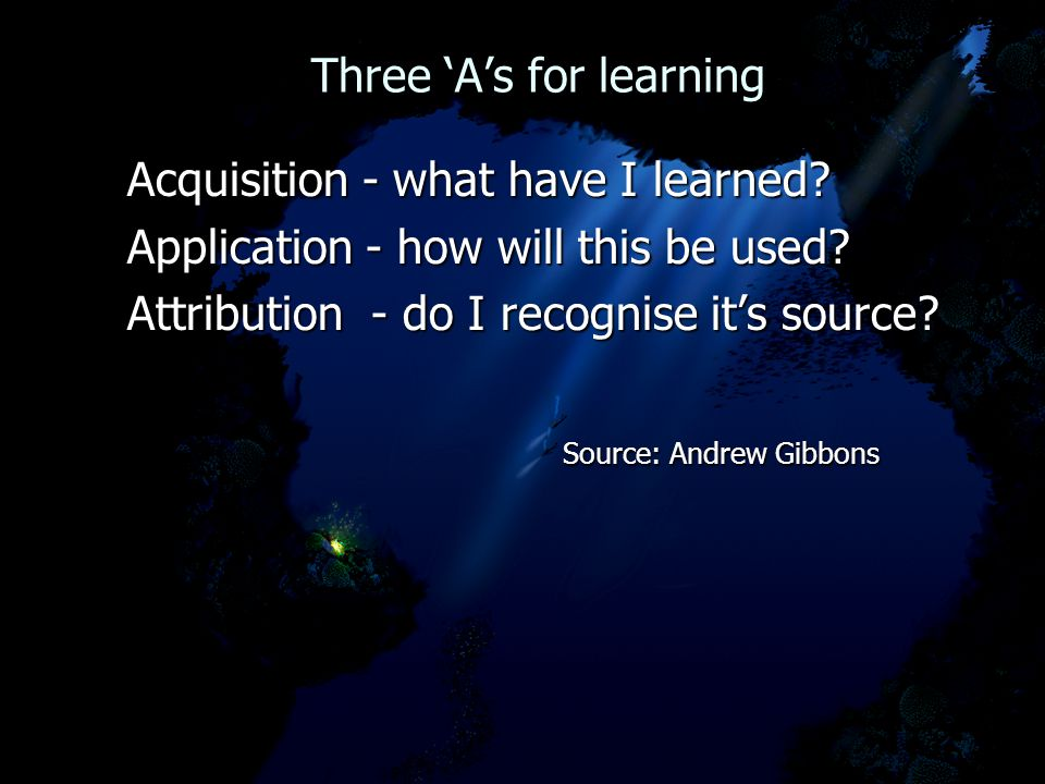 Three 'A's for learning Three 'A's for learning Acquisition - what have I learned? Acquisition - what have I learned? Application - how will this be u