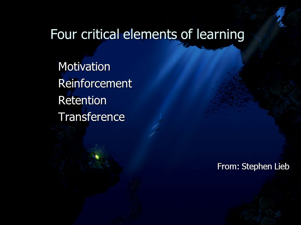 Four critical elements of learning Four critical elements of learning MotivationReinforcementRetentionTransference From: Stephen Lieb From: Stephen Lieb
