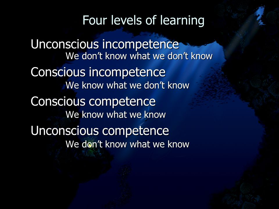 Four levels of learning Four levels of learning Unconscious incompetence We don't know what we don't know We don't know what we don't know Conscious incompetence We know what we don't know We know what we don't know Conscious competence We know what we know We know what we know Unconscious competence We don't know what we know We don't know what we know