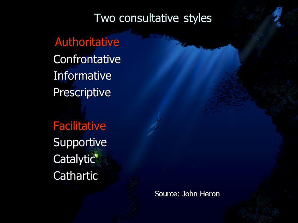 Two consultative styles Two consultative styles Authoritative Authoritative Confrontative Confrontative Informative Informative Prescriptive Prescript