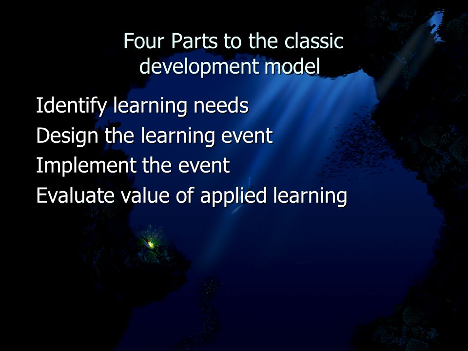 Four Parts to the classic development model Four Parts to the classic development model Identify learning needs Design the learning event Implement the event Evaluate value of applied learning