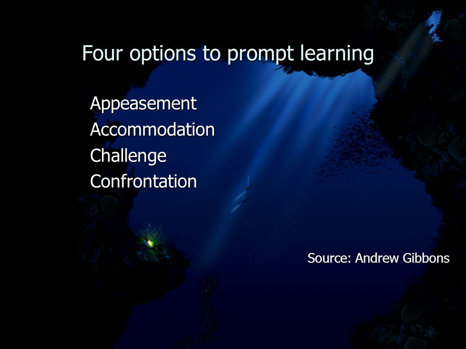 Four options to prompt learning Four options to prompt learning AppeasementAccommodationChallengeConfrontation Source: Andrew Gibbons Source: Andrew Gibbons