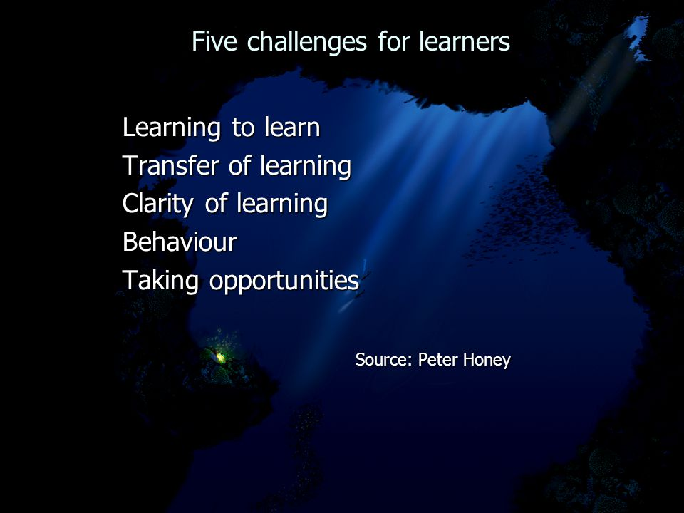 Five challenges for learners Five challenges for learners Learning to learn Learning to learn Transfer of learning Transfer of learning Clarity of learning Clarity of learning Behaviour Behaviour Taking opportunities Taking opportunities Source: Peter Honey Source: Peter Honey