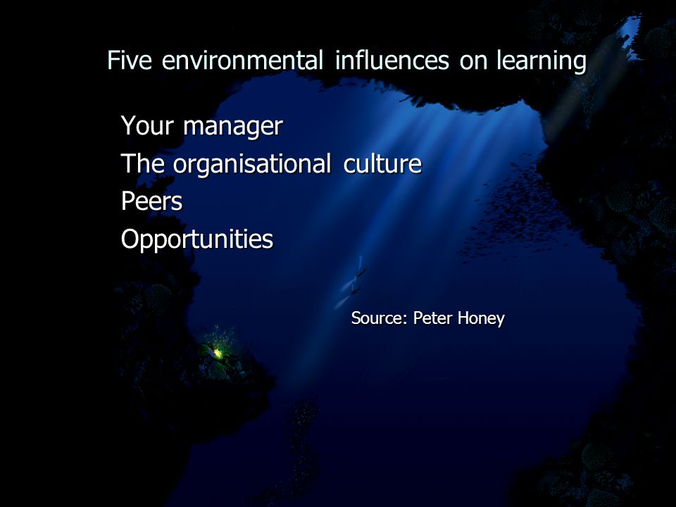 Five environmental influences on learning Five environmental influences on learning Your manager Your manager The organisational culture The organisational culture Peers Peers Opportunities Opportunities Source: Peter Honey Source: Peter Honey