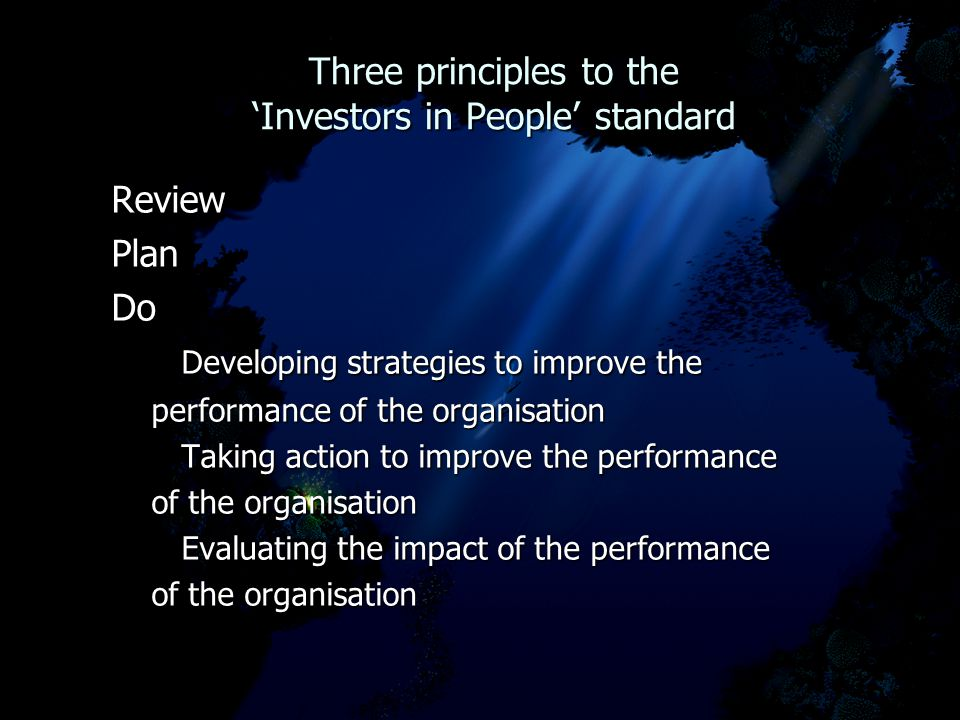 Three principles to the 'Investors in People' standard Three principles to the 'Investors in People' standard ReviewPlanDo Developing strategies to improve the Developing strategies to improve the performance of the organisation performance of the organisation Taking action to improve the performance Taking action to improve the performance of the organisation of the organisation Evaluating the impact of the performance Evaluating the impact of the performance of the organisation of the organisation
