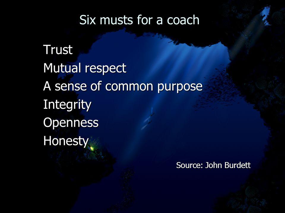 Six musts for a coach Six musts for a coachTrust Mutual respect A sense of common purpose IntegrityOpennessHonesty Source: John Burdett Source: John B