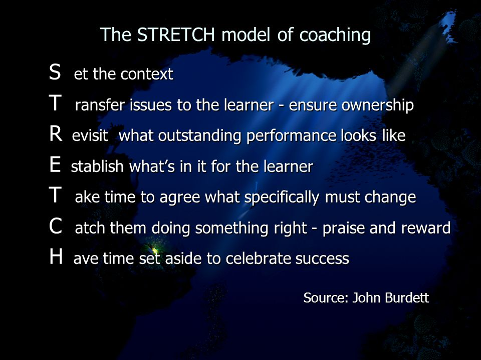 The STRETCH model of coaching The STRETCH model of coaching S et the context T ransfer issues to the learner - ensure ownership R evisit what outstanding performance looks like E stablish what's in it for the learner T ake time to agree what specifically must change C atch them doing something right - praise and reward H ave time set aside to celebrate success Source: John Burdett Source: John Burdett