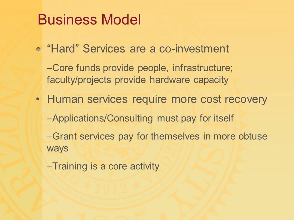 "Business Model ""Hard"" Services are a co-investment –Core funds provide people, infrastructure; faculty/projects provide hardware capacity Human servic"