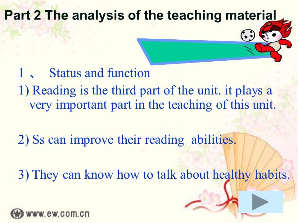 Part 2 The analysis of the teaching material 1 、 Status and function 1) Reading is the third part of the unit.