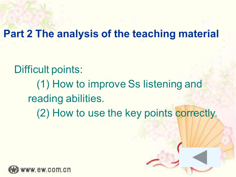 Part 2 The analysis of the teaching material Difficult points: (1) How to improve Ss listening and reading abilities. (2) How to use the key points co