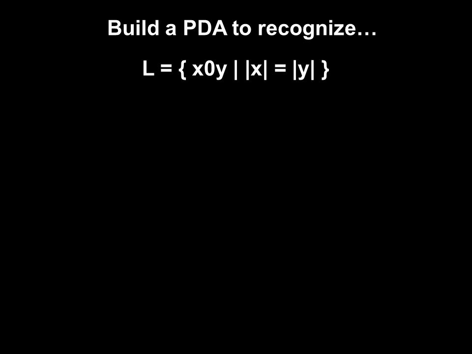 Build a PDA to recognize… L = { x0y | |x| = |y| }