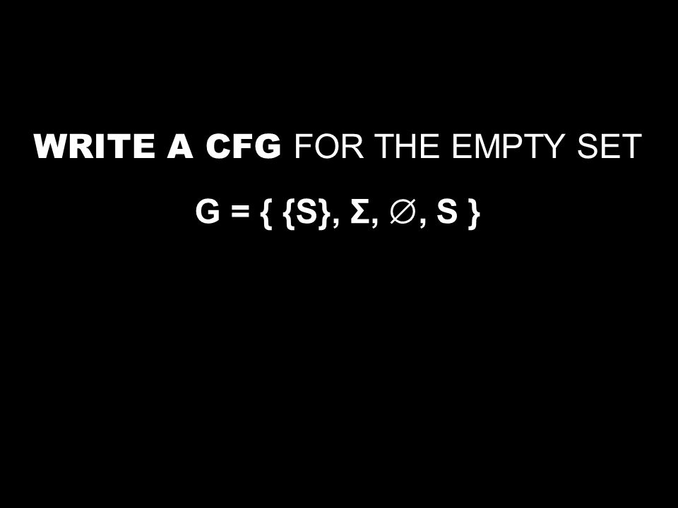 WRITE A CFG FOR THE EMPTY SET G = { {S}, Σ, , S }