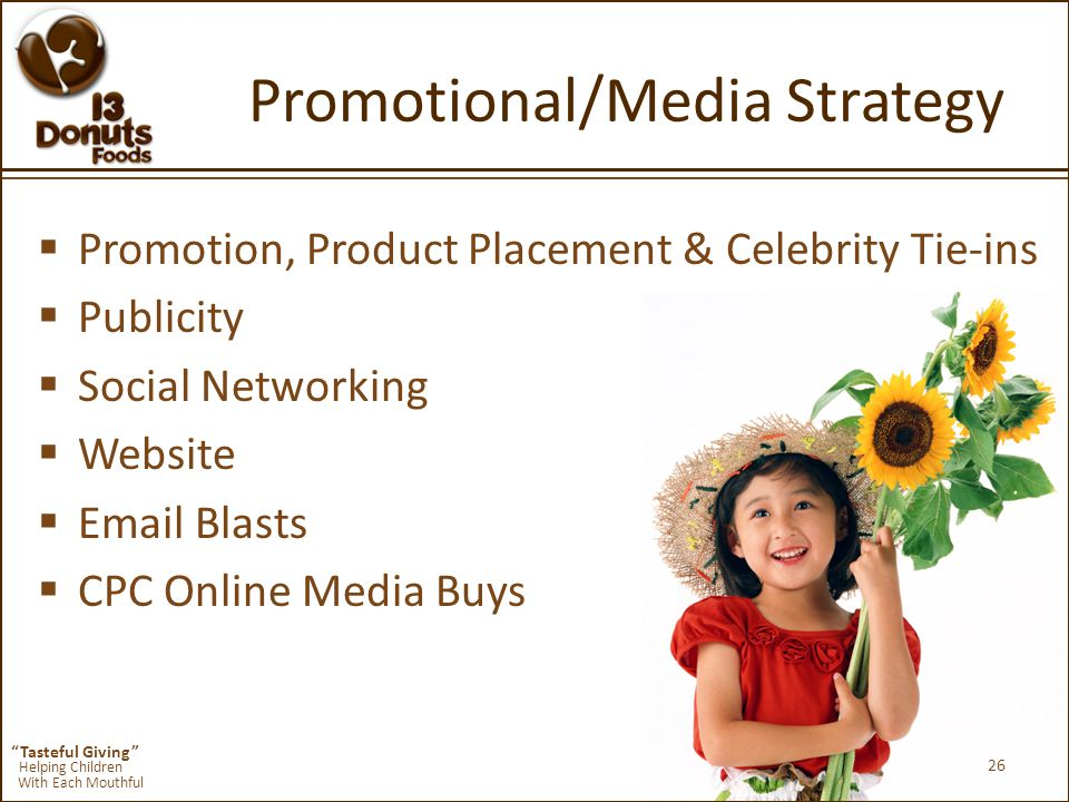 Tasteful Giving Helping Children With Each Mouthful Promotional/Media Strategy  Promotion, Product Placement & Celebrity Tie-ins  Publicity  Social Networking  Website  Email Blasts  CPC Online Media Buys 26