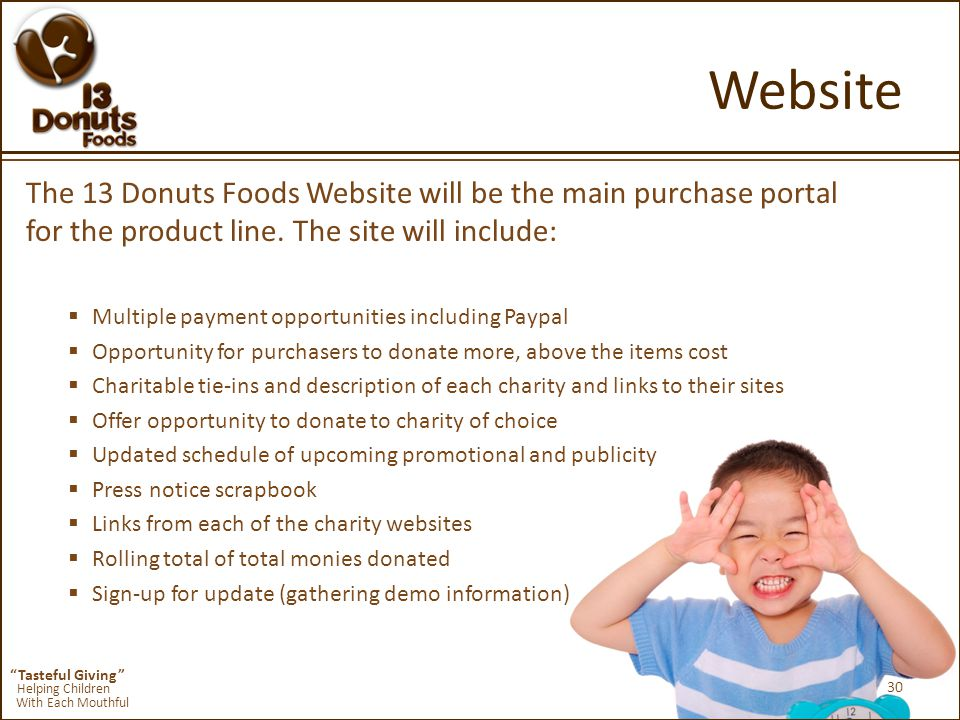 Tasteful Giving Helping Children With Each Mouthful Website The 13 Donuts Foods Website will be the main purchase portal for the product line.