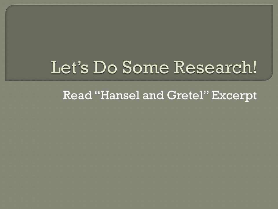Read Hansel and Gretel Excerpt