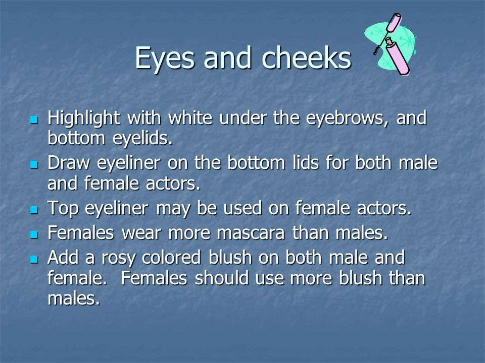 Eyes and cheeks Highlight with white under the eyebrows, and bottom eyelids.