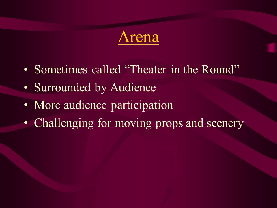 Thrust Combines features of Thrust and Arena Audience on Three Sides Backstage No wings