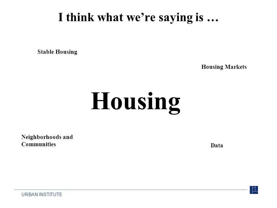 URBAN INSTITUTE Housing Stable Housing Neighborhoods and Communities Housing Markets Data I think what we're saying is …