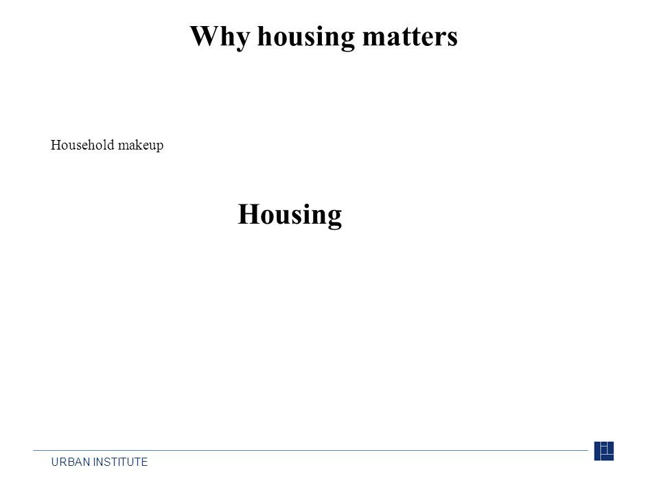 URBAN INSTITUTE Why housing matters Housing Household makeup