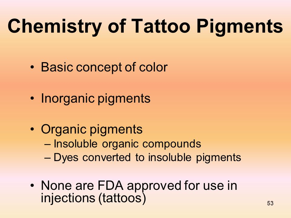 53 Chemistry of Tattoo Pigments Basic concept of color Inorganic pigments Organic pigments –Insoluble organic compounds –Dyes converted to insoluble p