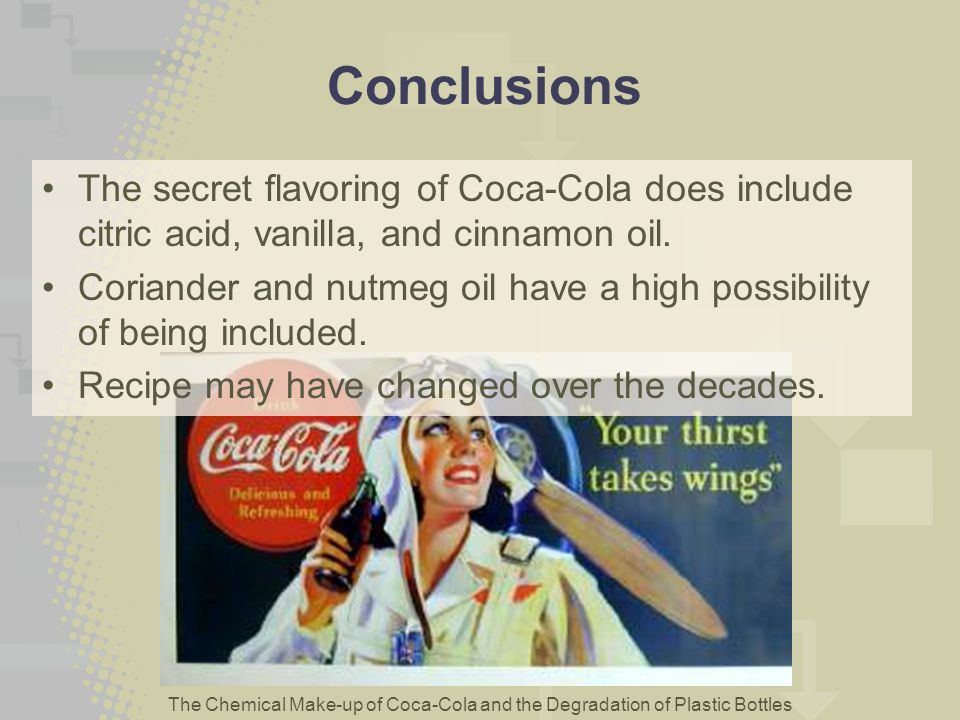 The Chemical Make-up of Coca-Cola and the Degradation of Plastic Bottles Conclusions The secret flavoring of Coca-Cola does include citric acid, vanil
