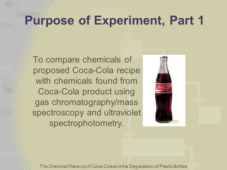 The Chemical Make-up of Coca-Cola and the Degradation of Plastic Bottles Purpose of Experiment, Part 1 To compare chemicals of proposed Coca-Cola reci