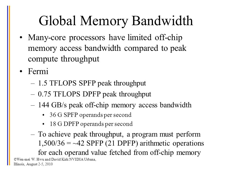 Global Memory Bandwidth Many-core processors have limited off-chip memory access bandwidth compared to peak compute throughput Fermi –1.5 TFLOPS SPFP