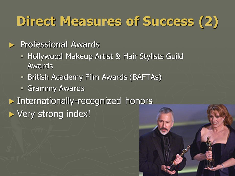 Direct Measures of Success (2) ► Professional Awards  Hollywood Makeup Artist & Hair Stylists Guild Awards  British Academy Film Awards (BAFTAs)  Grammy Awards ► Internationally-recognized honors ► Very strong index!