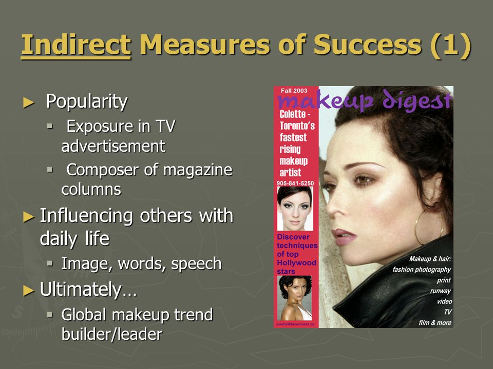 Indirect Measures of Success (1) ► Popularity  Exposure in TV advertisement  Composer of magazine columns ► Influencing others with daily life  Ima