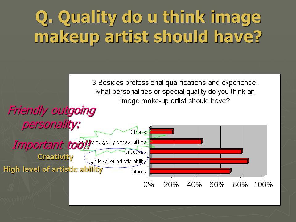 Q. Quality do u think image makeup artist should have.