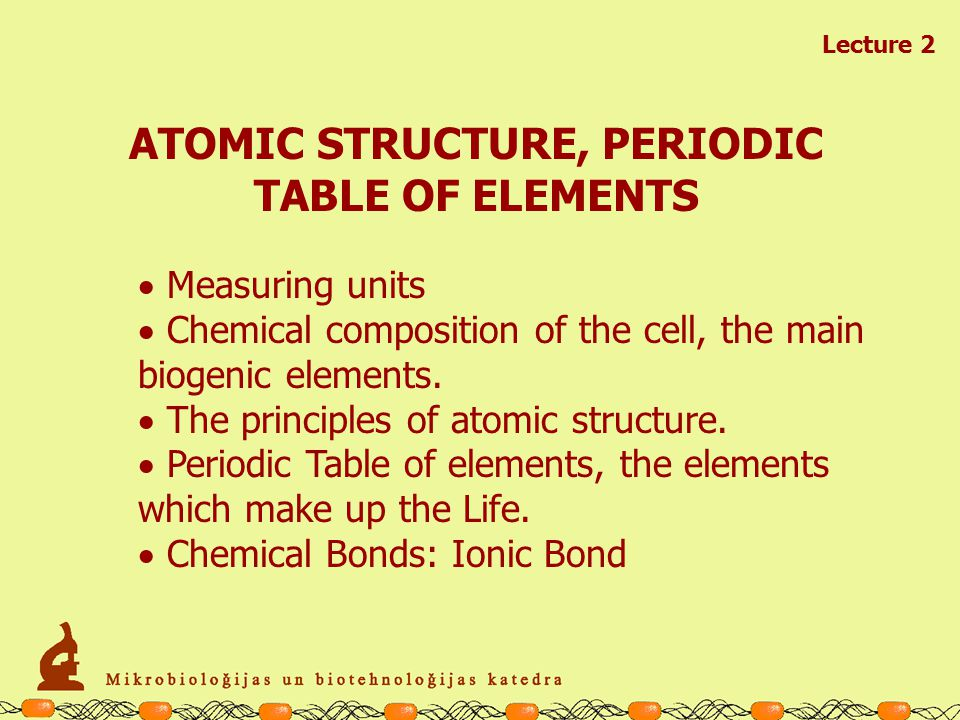STRUCTURE OF ATOMS, PERIODIC TABLE OF ELEMENTS BASIC CELL BIOLOGY I CHEMISTRY of LIFE