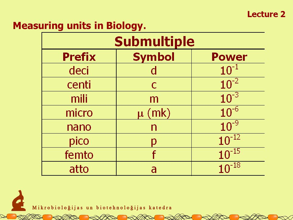 Measuring units in Biology. Lecture 2