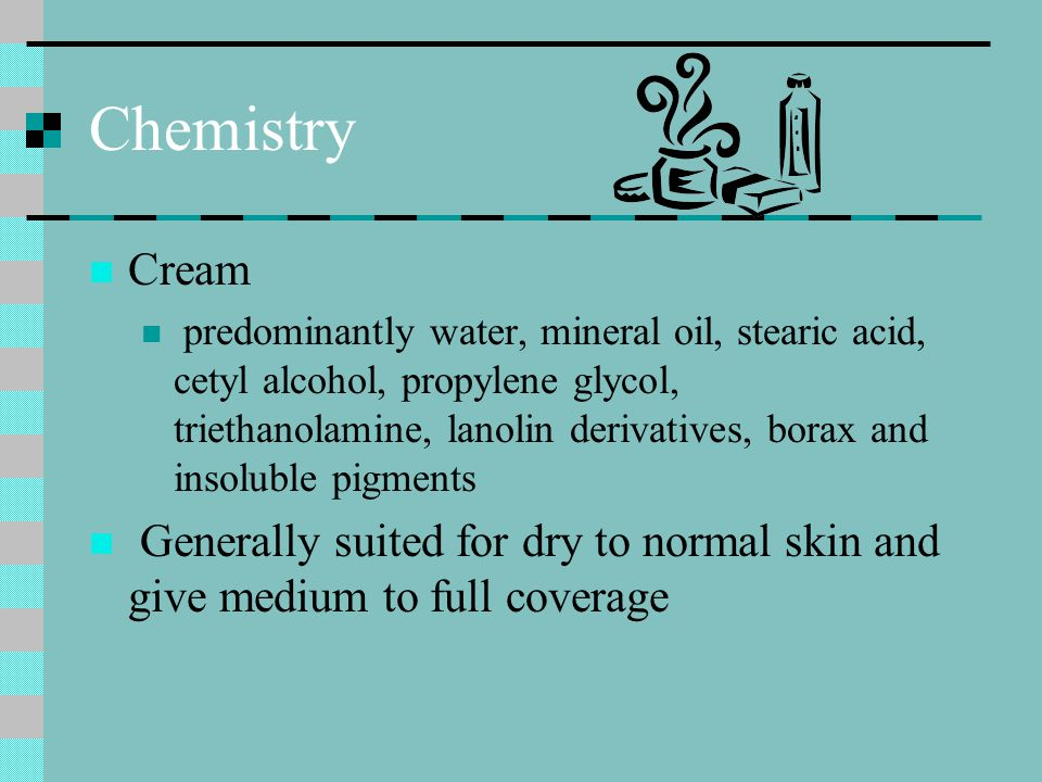 Chemistry Liquid Suspensions of organic and inorganic pigments in alcohol and water-based solutions Generally suited for clients with oily to normal skin conditions and sheer to medium coverage.