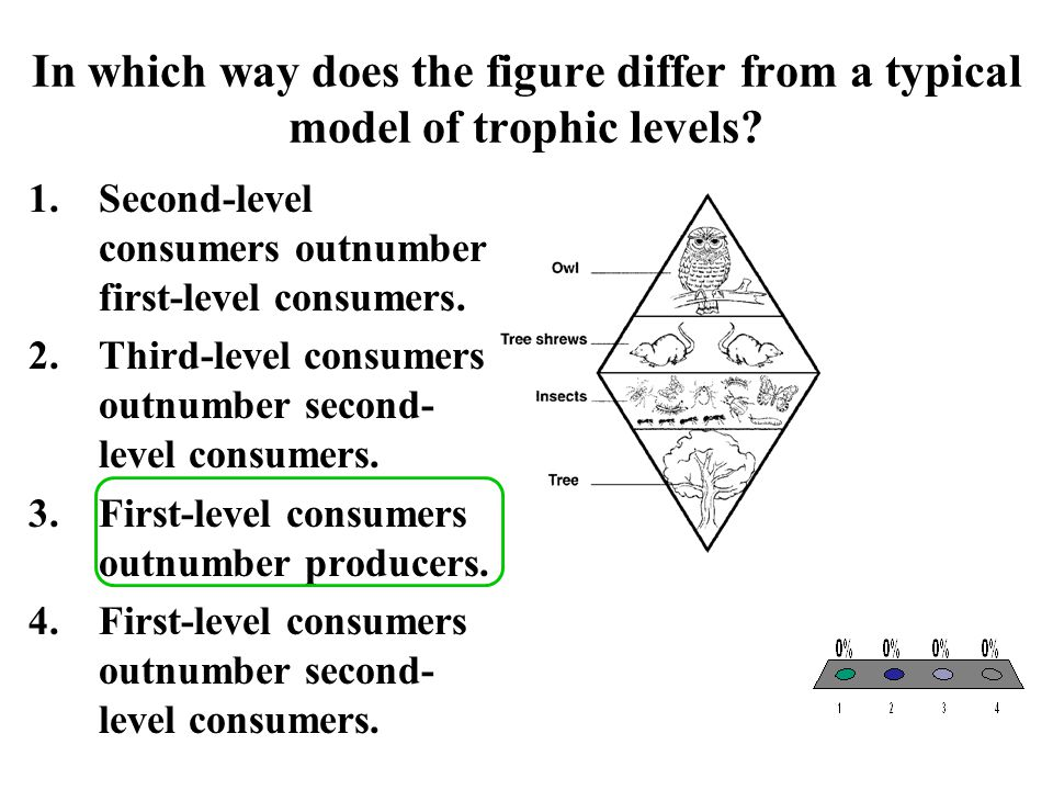 In which way does the figure differ from a typical model of trophic levels? 1.Second-level consumers outnumber first-level consumers. 2.Third-level co
