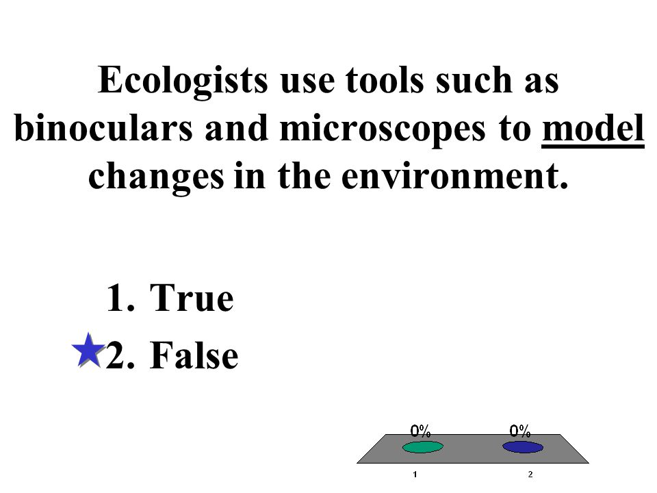 Ecologists use tools such as binoculars and microscopes to model changes in the environment. 1.True 2.False