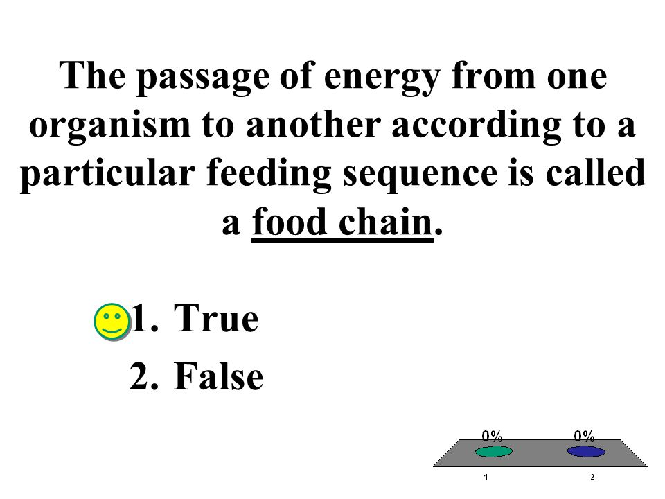 The passage of energy from one organism to another according to a particular feeding sequence is called a food chain. 1.True 2.False