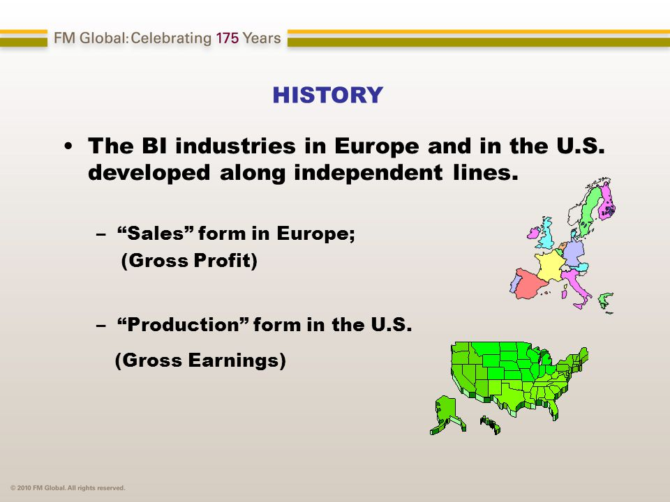 "HISTORY The BI industries in Europe and in the U.S. developed along independent lines. –""Sales"" form in Europe; (Gross Profit) –""Production"" form in t"