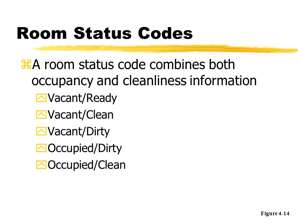 Room Status Codes zA room status code combines both occupancy and cleanliness information yVacant/Ready yVacant/Clean yVacant/Dirty yOccupied/Dirty yO
