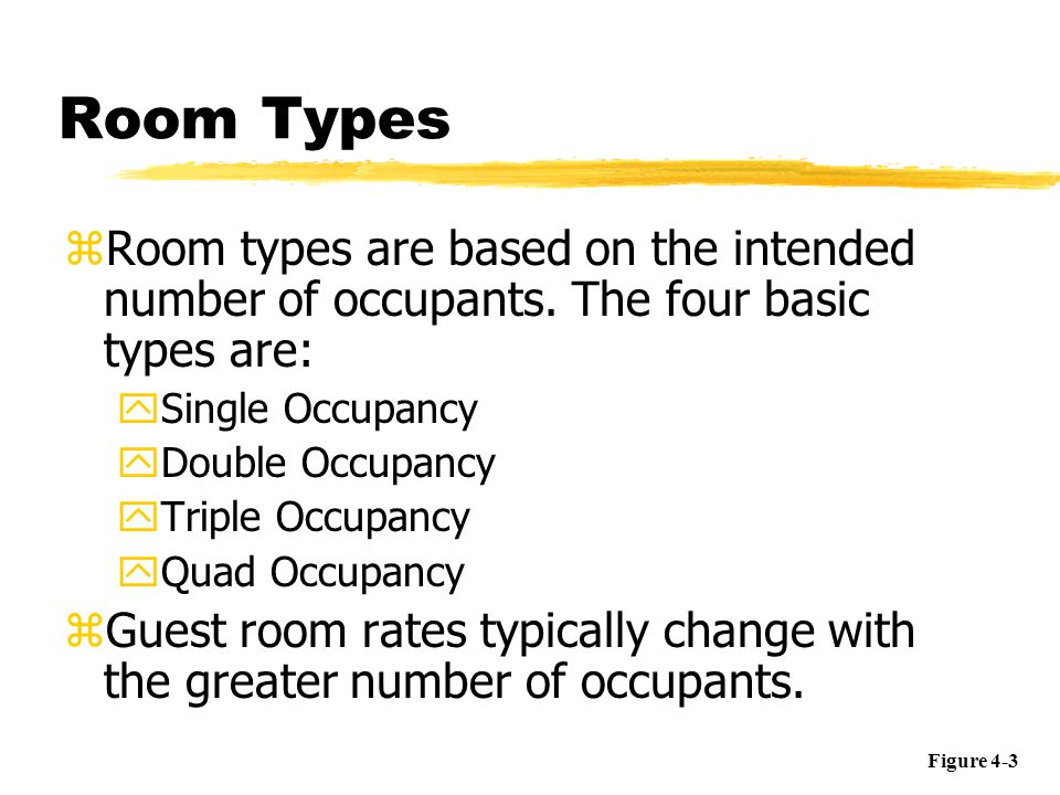 Room Status Codes zA room status code combines both occupancy and cleanliness information yVacant/Ready yVacant/Clean yVacant/Dirty yOccupied/Dirty yOccupied/Clean Figure 4-14