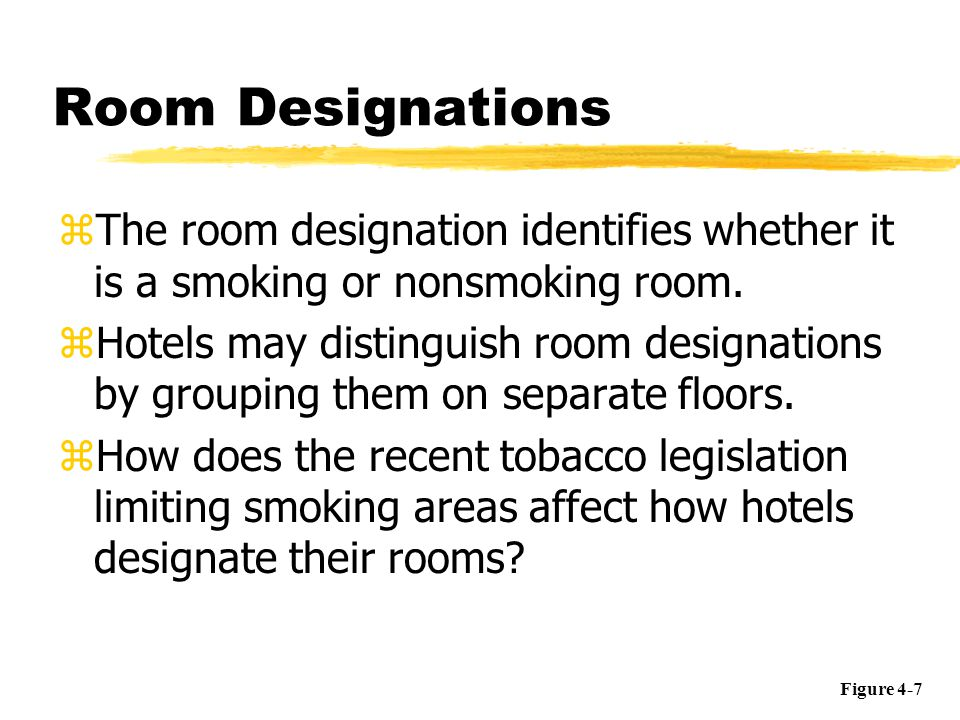 Room Designations zThe room designation identifies whether it is a smoking or nonsmoking room. zHotels may distinguish room designations by grouping t