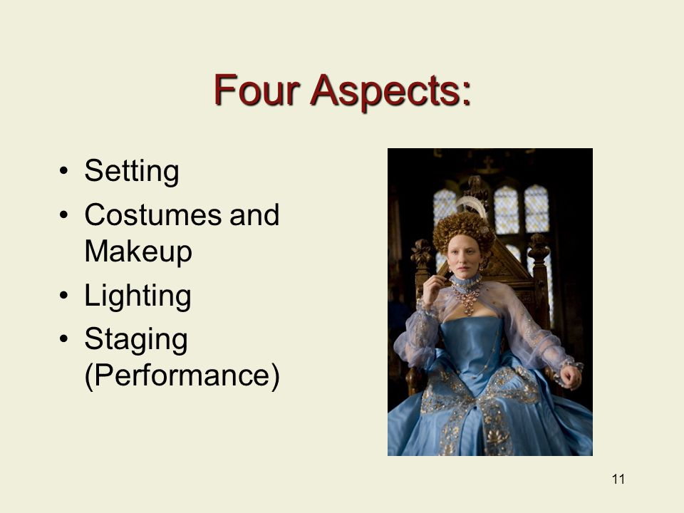 Four Aspects: Setting Costumes and Makeup Lighting Staging (Performance) 11