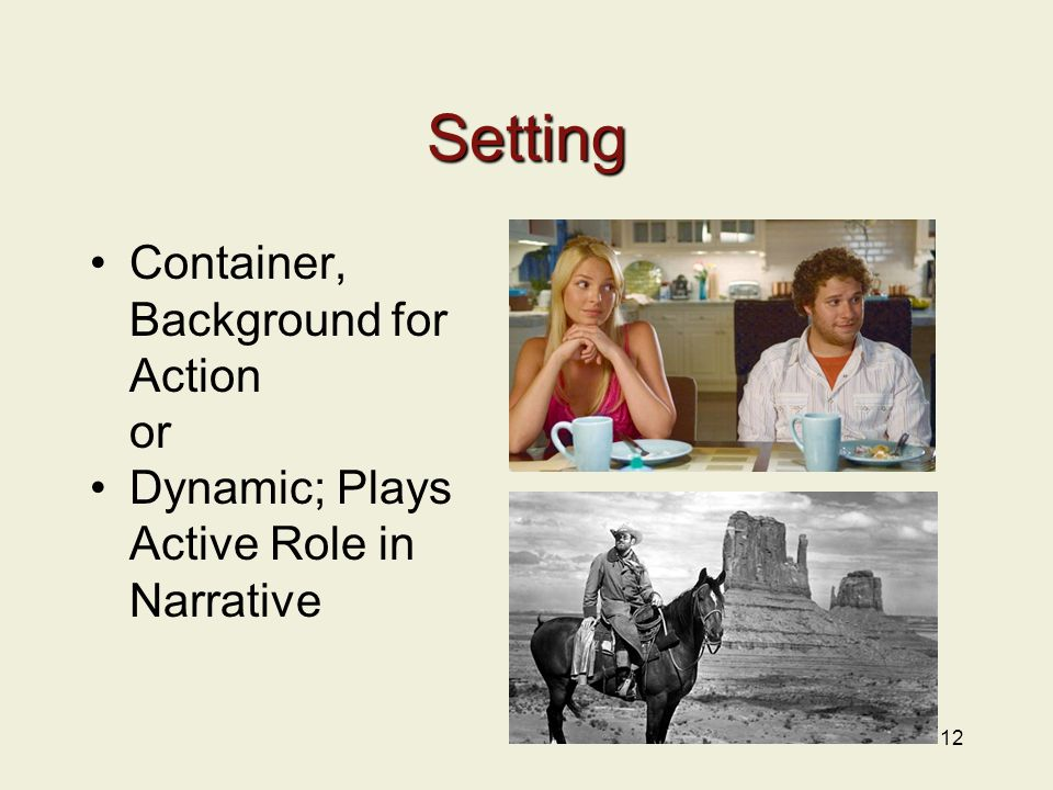 Setting Container, Background for Action or Dynamic; Plays Active Role in Narrative 12