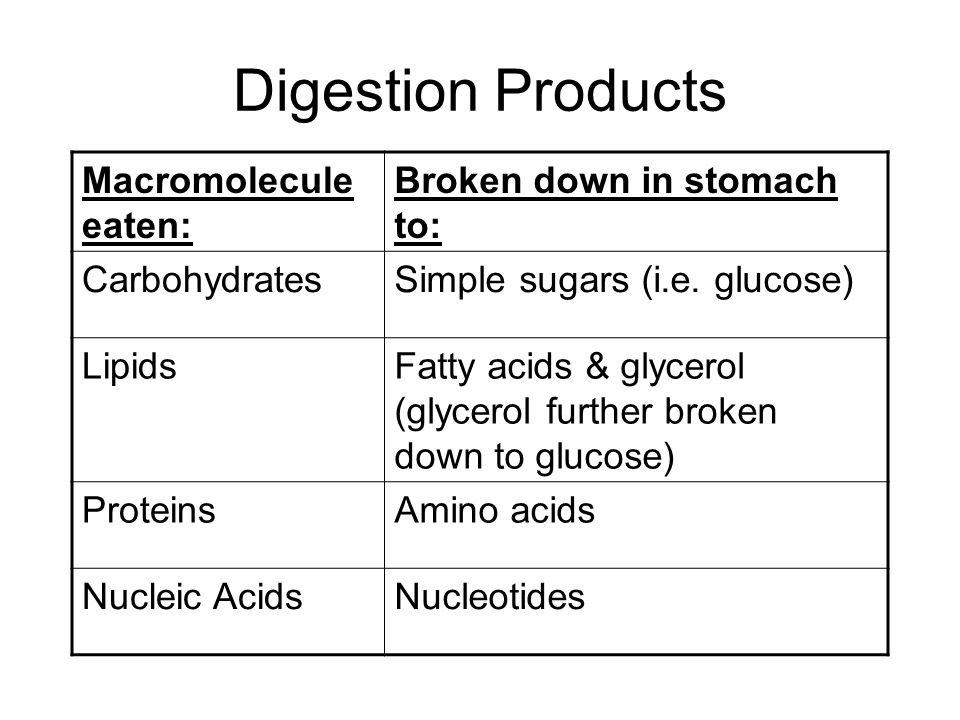 Digestion & Reconstruction When macromolecules are eaten, they are digested and broken down into their subunits (monomers).