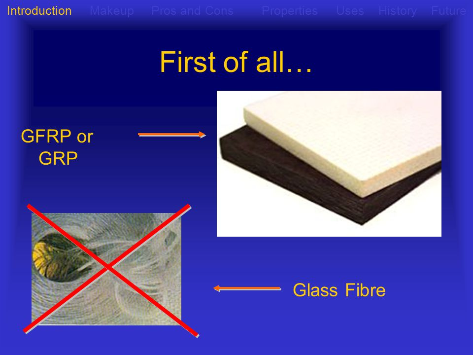 First of all… GFRP or GRP Glass Fibre Introduction Makeup Pros and Cons Properties Uses History Future