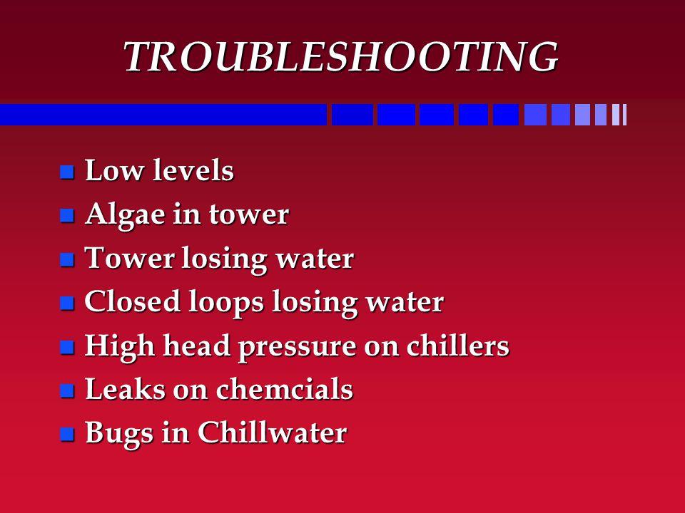 TROUBLESHOOTING n Low levels n Algae in tower n Tower losing water n Closed loops losing water n High head pressure on chillers n Leaks on chemcials n